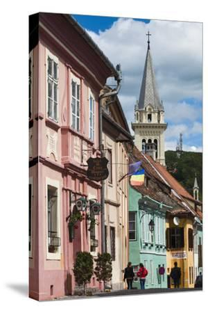 Romania, Transylvania, Sighisoara, Piata Cetatii, Old Town Buildings-Walter Bibikow-Stretched Canvas Print