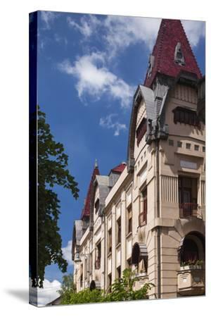 Romania, Transylvania, Buildings Along Piata Trandafirilor Square-Walter Bibikow-Stretched Canvas Print