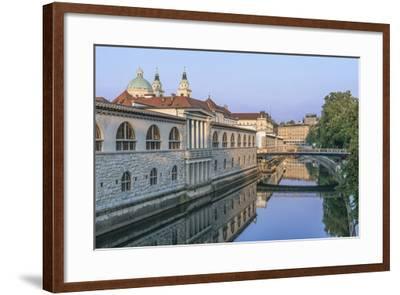 Slovenia, Ljubljana, Ljubljana River and Old Town at Dawn-Rob Tilley-Framed Photographic Print
