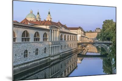 Slovenia, Ljubljana, Ljubljana River and Old Town at Dawn-Rob Tilley-Mounted Photographic Print