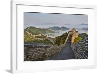 Great Wall of China on a Foggy Morning. Jinshanling, China-Darrell Gulin-Framed Photographic Print