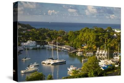 Sunset over the Tiny Harbor in Castries, St. Lucia, West Indies-Brian Jannsen-Stretched Canvas Print