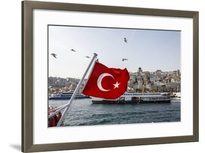 Turkish Flag, Passenger Ferry and Seagulls, Istanbul, Turkey-Ali Kabas-Framed Photographic Print