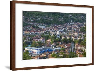 Romania, Transylvania, Sighisoara, Elevated Town View, Dawn-Walter Bibikow-Framed Photographic Print