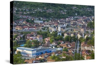 Romania, Transylvania, Sighisoara, Elevated Town View, Dawn-Walter Bibikow-Stretched Canvas Print
