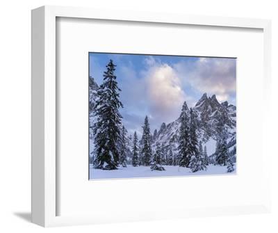 Valley Fischleintal in Winter, Mt Einserkofel. Sexten Dolomites, Italy-Martin Zwick-Framed Photographic Print