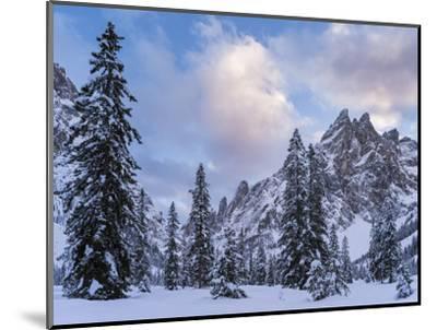 Valley Fischleintal in Winter, Mt Einserkofel. Sexten Dolomites, Italy-Martin Zwick-Mounted Photographic Print