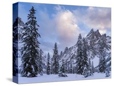Valley Fischleintal in Winter, Mt Einserkofel. Sexten Dolomites, Italy-Martin Zwick-Stretched Canvas Print
