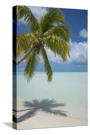 Cook Islands, Aitutaki. One Foot Island. White Sand Beach with Trees-Cindy Miller Hopkins-Stretched Canvas Print