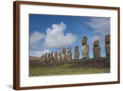 Chile, Easter Island, Hanga Nui. Rapa Nui, Ahu Tongariki. Moi Statues-Cindy Miller Hopkins-Framed Photographic Print