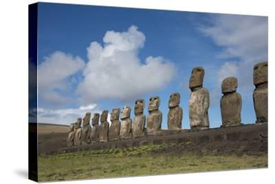 Chile, Easter Island, Hanga Nui. Rapa Nui, Ahu Tongariki. Moi Statues-Cindy Miller Hopkins-Stretched Canvas Print