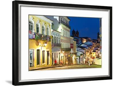Colonial Centre at Dusk, Pelourinho, Salvador, Bahia, Brazil-Peter Adams-Framed Photographic Print