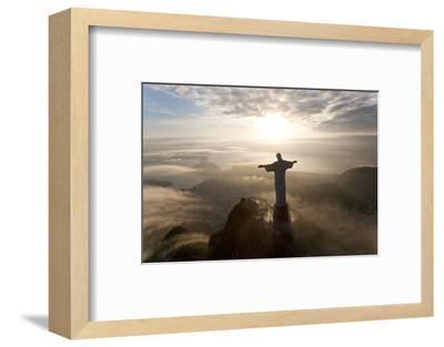 Art Deco Statue of Jesus,On Corcovado Mountain, Rio de Janeiro, Brazil-Peter Adams-Framed Photographic Print