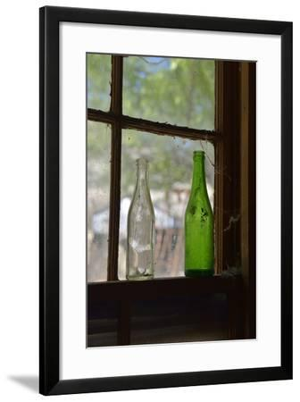 USA, Arizona, Jerome, Gold King Mine. Old Bottles in a Window-Kevin Oke-Framed Photographic Print