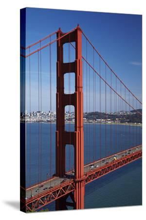 California, Traffic on Golden Gate Bridge, and San Francisco Bay-David Wall-Stretched Canvas Print
