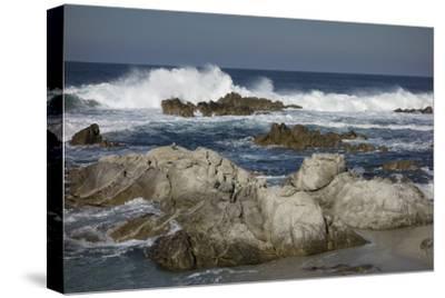 Waves, Blue Water and Rocks Along Monterey Peninsula, California Coast-Sheila Haddad-Stretched Canvas Print