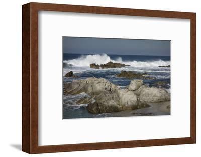 Waves, Blue Water and Rocks Along Monterey Peninsula, California Coast-Sheila Haddad-Framed Photographic Print
