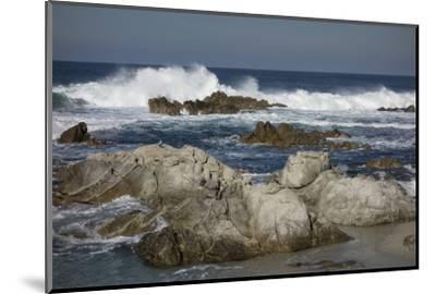 Waves, Blue Water and Rocks Along Monterey Peninsula, California Coast-Sheila Haddad-Mounted Photographic Print