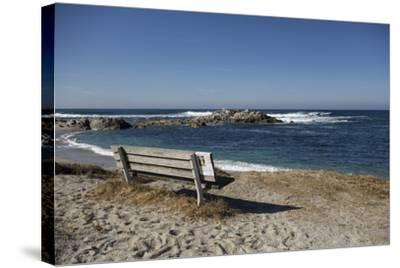 Bench on Beach with Waves, Monterey Peninsula, California Coast-Sheila Haddad-Stretched Canvas Print