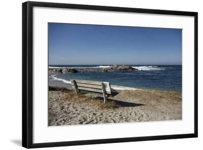 Bench on Beach with Waves, Monterey Peninsula, California Coast-Sheila Haddad-Framed Photographic Print