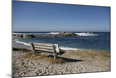 Bench on Beach with Waves, Monterey Peninsula, California Coast-Sheila Haddad-Mounted Photographic Print