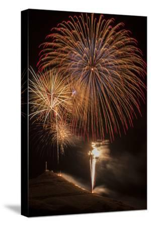 USA, Colorado, Salida. July 4th Fireworks Display-Don Grall-Stretched Canvas Print