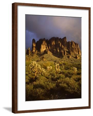 The Superstition Mountains in Lost Dutchman State Park, Arizona-Greg Probst-Framed Photographic Print