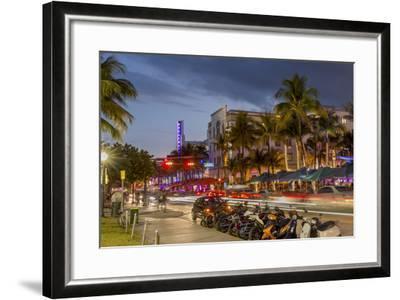 Dusk Light on Ocean Drive in South Beach in Miami Beach, Florida, USA-Chuck Haney-Framed Photographic Print