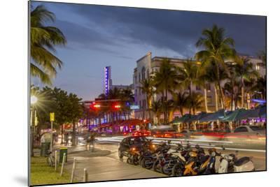 Dusk Light on Ocean Drive in South Beach in Miami Beach, Florida, USA-Chuck Haney-Mounted Photographic Print