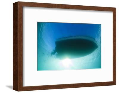 Underwater View of a Boat Hull Through the Waters of Florida Bay-James White-Framed Photographic Print