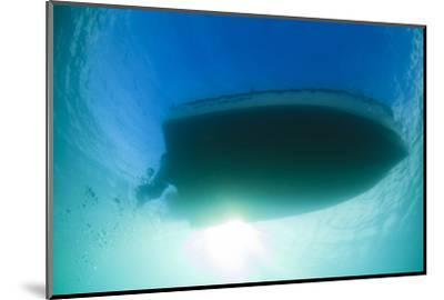 Underwater View of a Boat Hull Through the Waters of Florida Bay-James White-Mounted Photographic Print