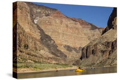 USA, Arizona, Grand Canyon National Park. Kayakers on Colorado River-Don Grall-Stretched Canvas Print