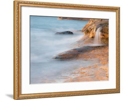Michigan, Upper Peninsula. Waterfall Along the Edge of Lake Superior-Julie Eggers-Framed Photographic Print