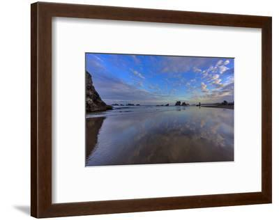 Clouds Reflect in Wet Sand at Sunrise at Bandon Beach, Bandon, Oregon-Chuck Haney-Framed Photographic Print