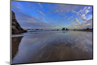 Clouds Reflect in Wet Sand at Sunrise at Bandon Beach, Bandon, Oregon-Chuck Haney-Mounted Photographic Print