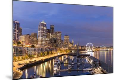 USA, Washington, Seattle. Night Time Skyline from Pier 66-Brent Bergherm-Mounted Photographic Print