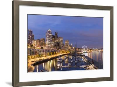 USA, Washington, Seattle. Night Time Skyline from Pier 66-Brent Bergherm-Framed Photographic Print