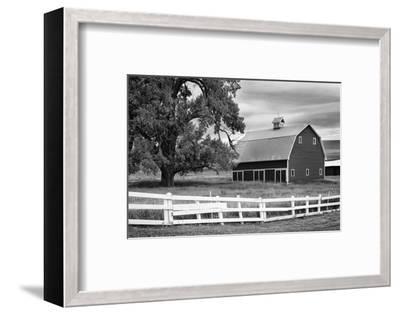USA, Washington. Barn and Wooden Fence on Farm-Dennis Flaherty-Framed Premium Photographic Print