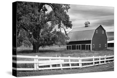 USA, Washington. Barn and Wooden Fence on Farm-Dennis Flaherty-Stretched Canvas Print