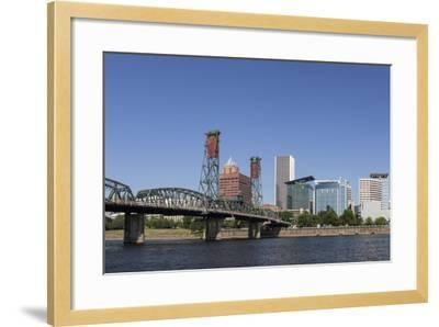 USA, Oregon, Portland. Downtown and the Hawthorne Bridge-Brent Bergherm-Framed Photographic Print