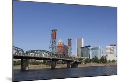 USA, Oregon, Portland. Downtown and the Hawthorne Bridge-Brent Bergherm-Mounted Photographic Print