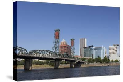 USA, Oregon, Portland. Downtown and the Hawthorne Bridge-Brent Bergherm-Stretched Canvas Print