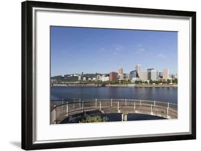 Oregon, Portland. Downtown from across the Willamette River-Brent Bergherm-Framed Photographic Print