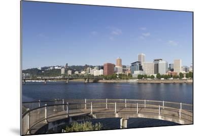 Oregon, Portland. Downtown from across the Willamette River-Brent Bergherm-Mounted Photographic Print