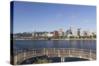 Oregon, Portland. Downtown from across the Willamette River-Brent Bergherm-Stretched Canvas Print