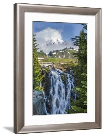 Braided Myrtle Falls and Mt Rainier, Skyline Trail, NP, Washington-Michael Qualls-Framed Photographic Print