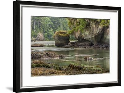 Crescent Beach Bay and Island, Low Tide, Olympic Peninsula, Washington-Michael Qualls-Framed Photographic Print