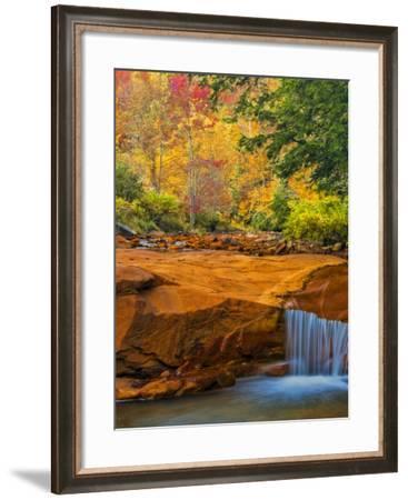 USA, West Virginia, Douglass Falls. Waterfall over Rock Outcrop-Jay O'brien-Framed Photographic Print