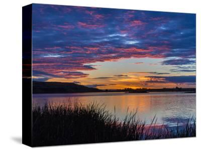 USA, Washington. Sunset on Scooteney Reservoir-Don Paulson-Stretched Canvas Print