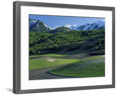 Utah. USA. Fields in Spring Below Wellsville Mountains. Cache Valley-Scott T^ Smith-Framed Photographic Print